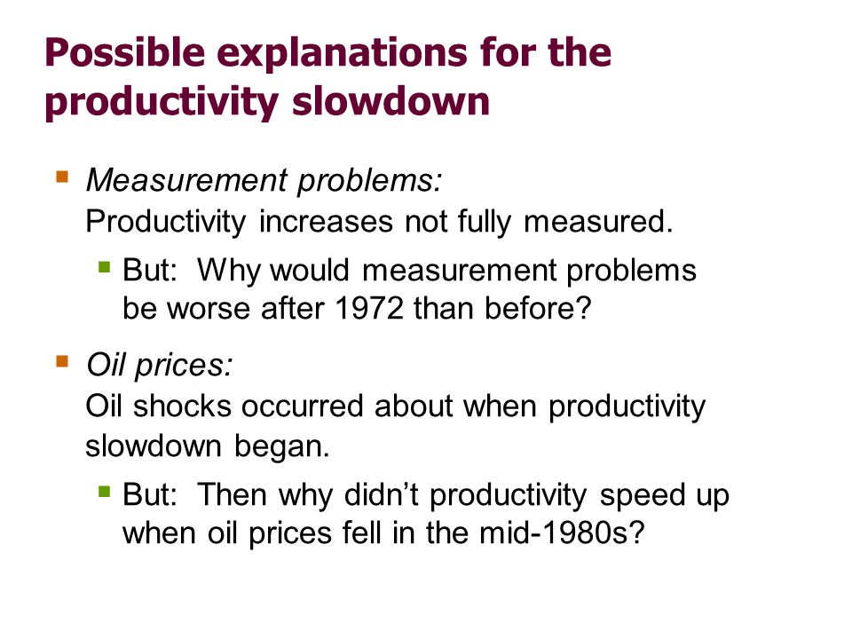 Possible explanations for the productivity slowdown