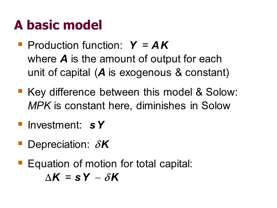 A basic model K = s Y   K. Divide through by K and use Y = A K to get: