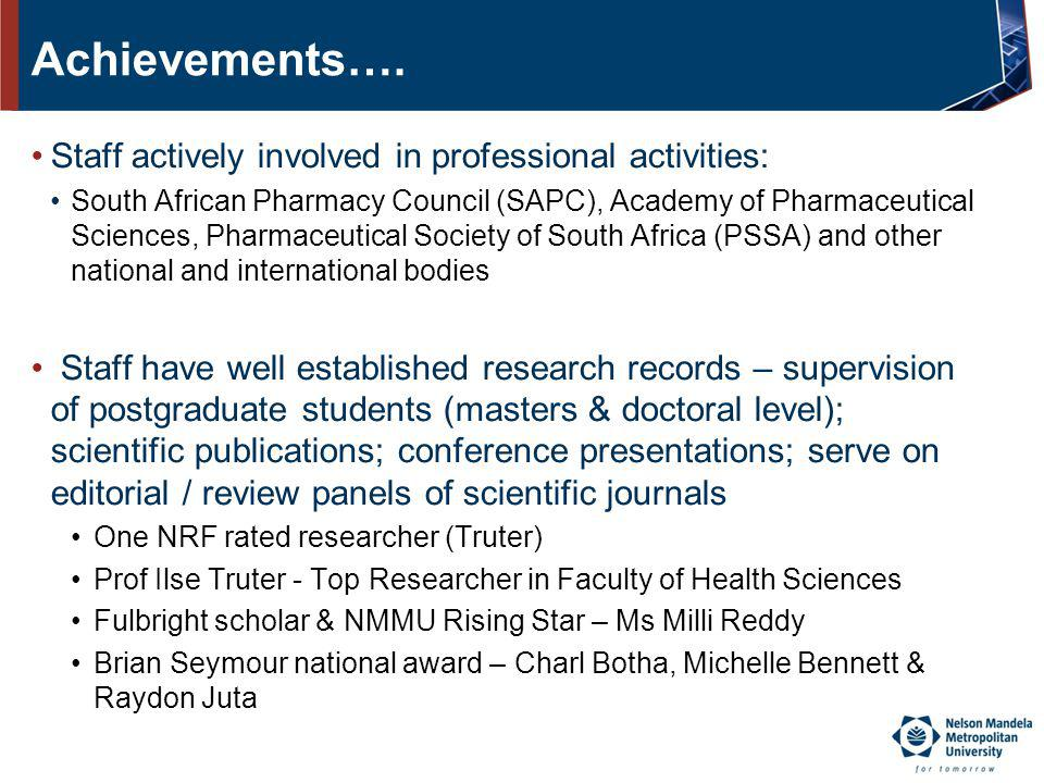 Achievements…. Staff actively involved in professional activities: