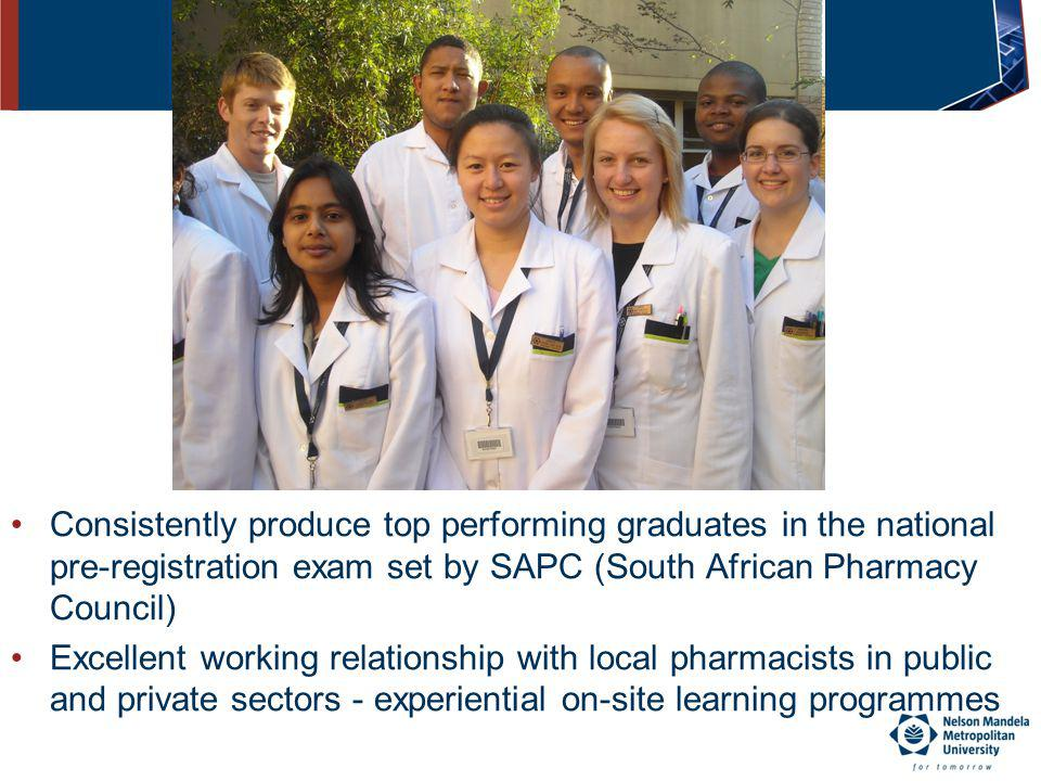 Achievements…. Consistently produce top performing graduates in the national pre-registration exam set by SAPC (South African Pharmacy Council)