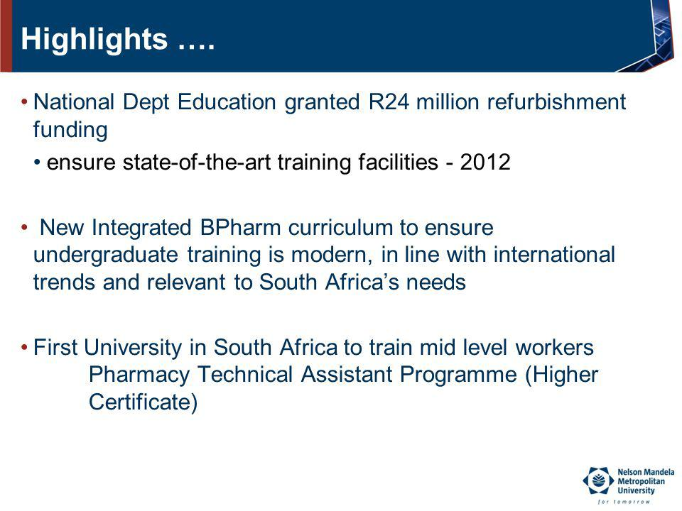 Highlights …. National Dept Education granted R24 million refurbishment funding. ensure state-of-the-art training facilities - 2012.