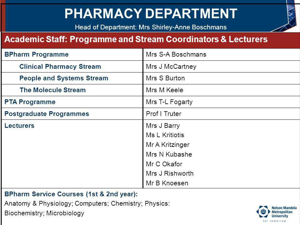 Head of Department: Mrs Shirley-Anne Boschmans