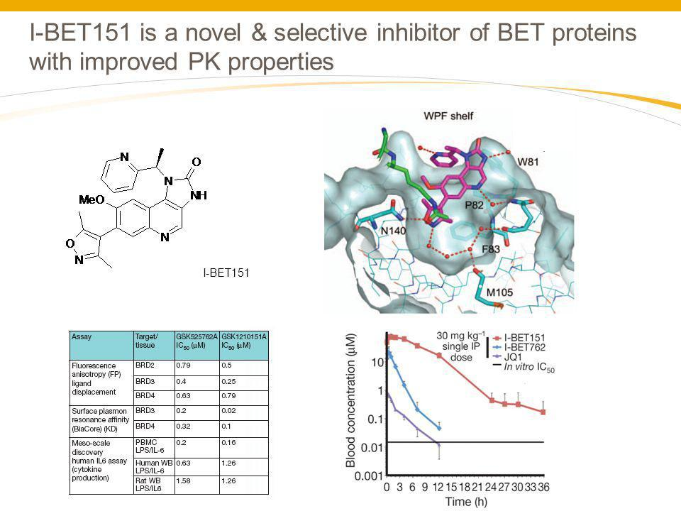 I-BET151 is a novel & selective inhibitor of BET proteins with improved PK properties