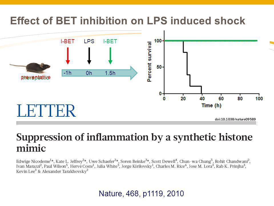 Effect of BET inhibition on LPS induced shock