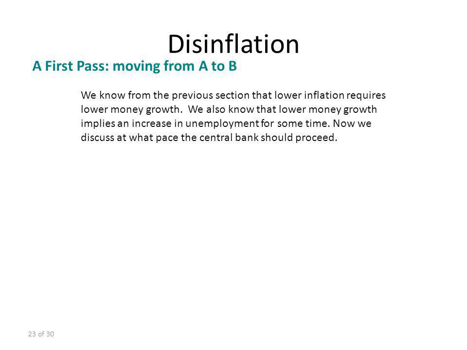 Disinflation A First Pass: moving from A to B