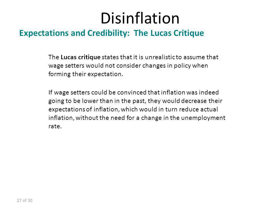Disinflation Expectations and Credibility: The Lucas Critique