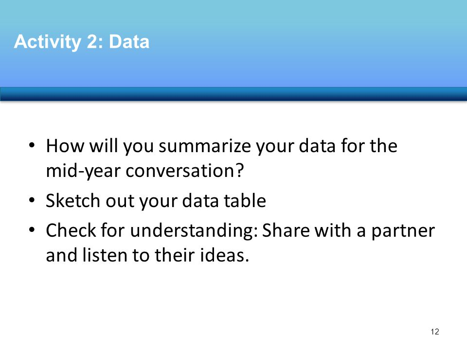 How will you summarize your data for the mid-year conversation