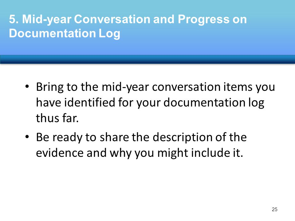 5. Mid-year Conversation and Progress on Documentation Log