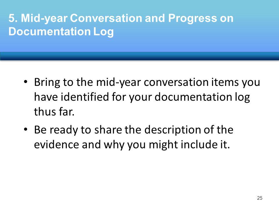 5. Mid-year Conversation and Progress on Documentation Log