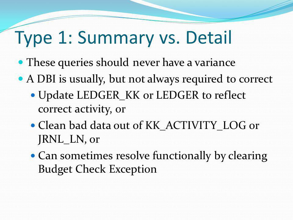 Type 1: Summary vs. Detail