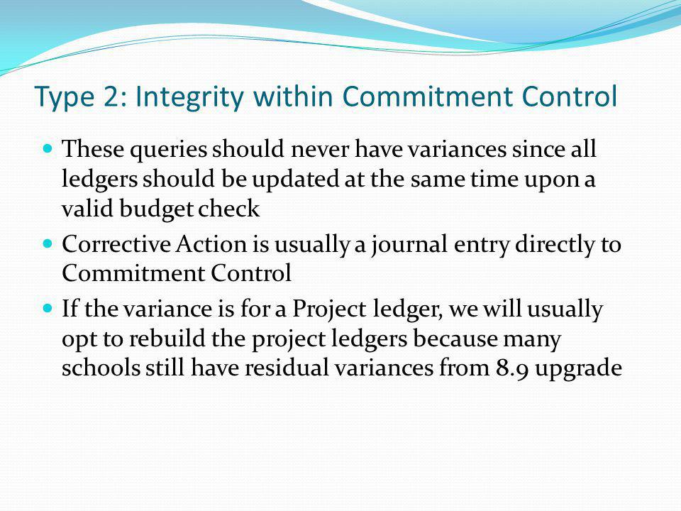 Type 2: Integrity within Commitment Control