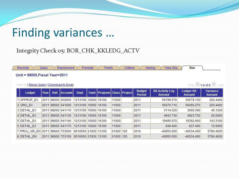 Finding variances … Integrity Check 05: BOR_CHK_KKLEDG_ACTV