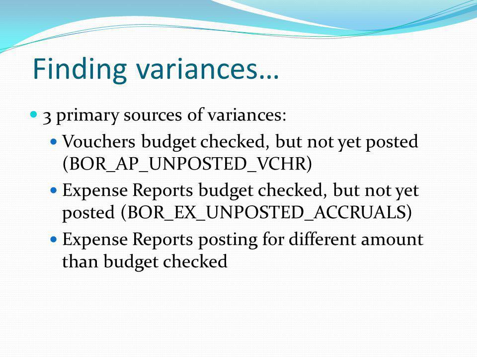 Finding variances… 3 primary sources of variances:
