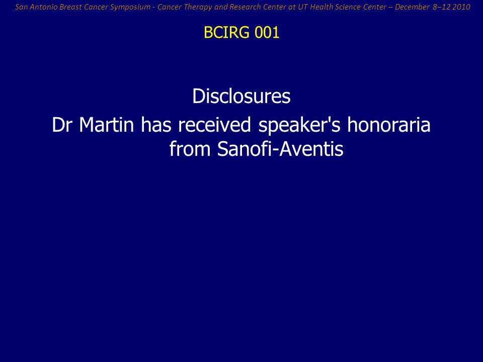 Dr Martin has received speaker s honoraria from Sanofi-Aventis