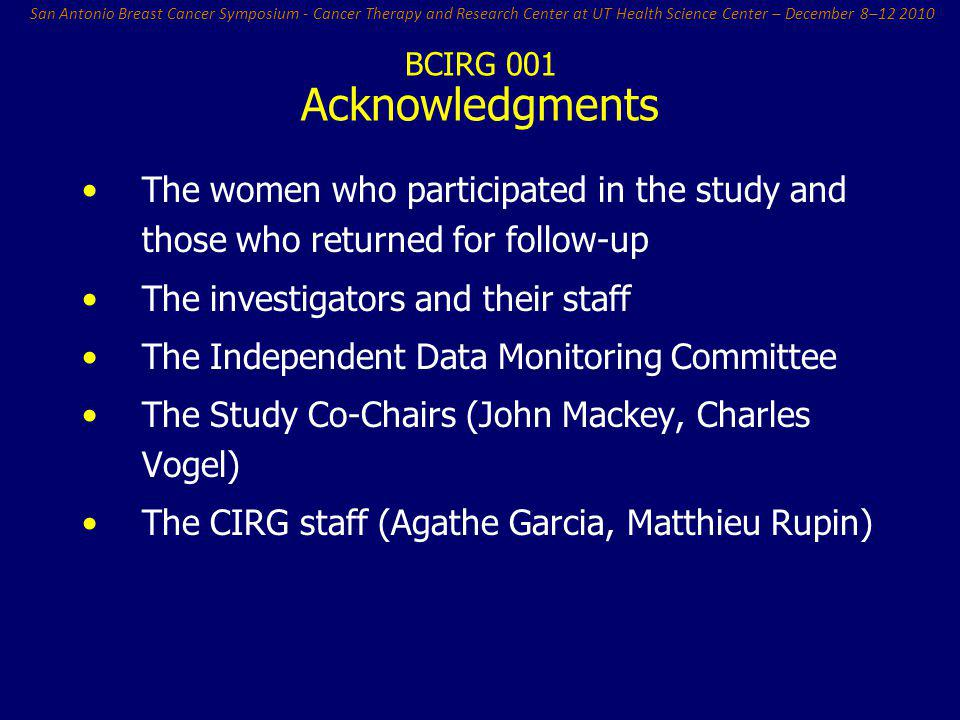 Acknowledgments The women who participated in the study and those who returned for follow-up. The investigators and their staff.
