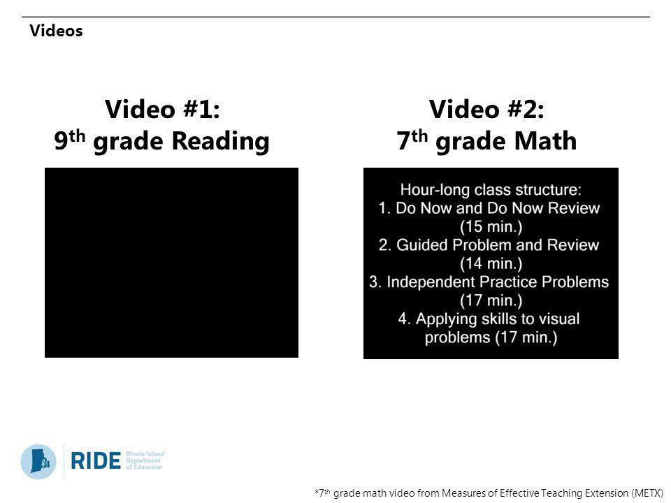 Video #1: 9th grade Reading Video #2: 7th grade Math