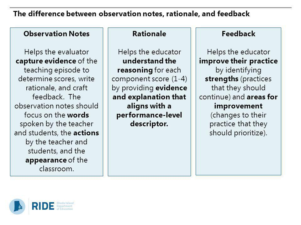 The difference between observation notes, rationale, and feedback