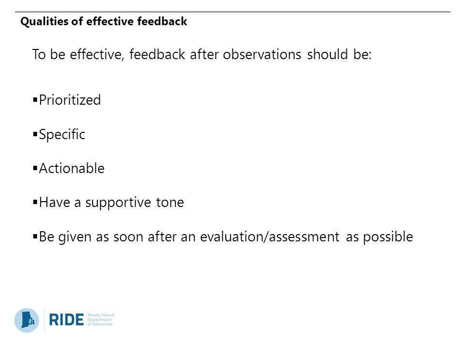 Qualities of effective feedback