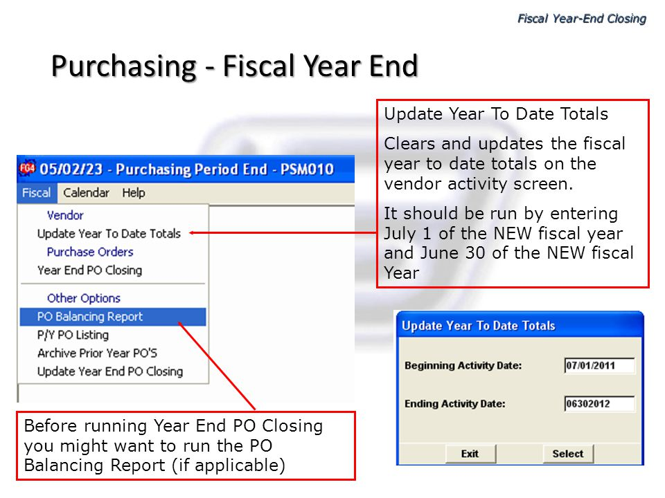 Purchasing - Fiscal Year End