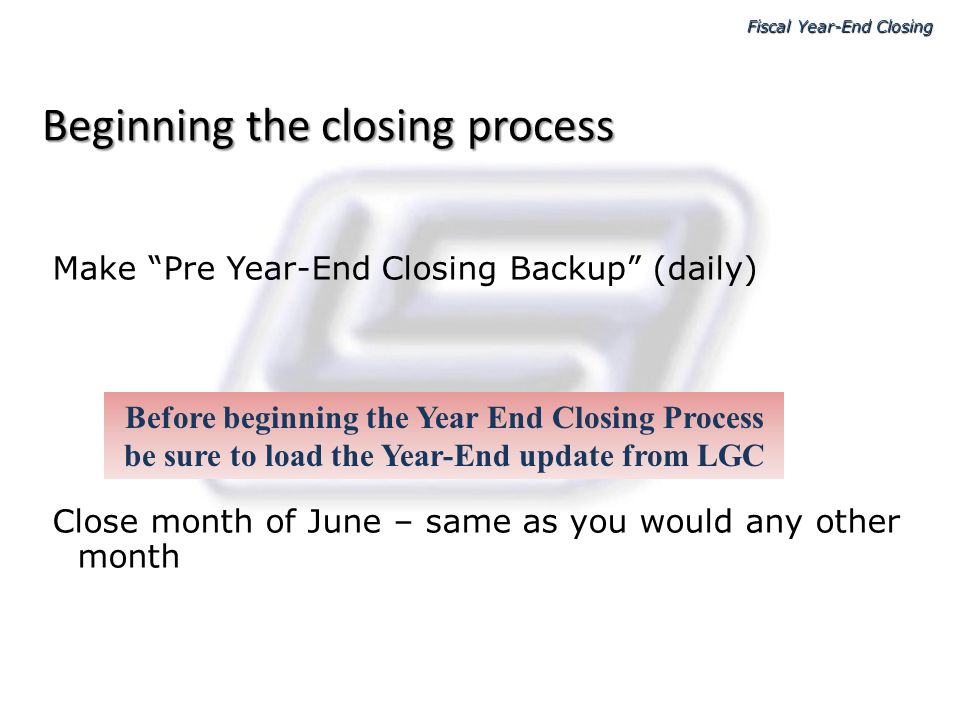 Beginning the closing process