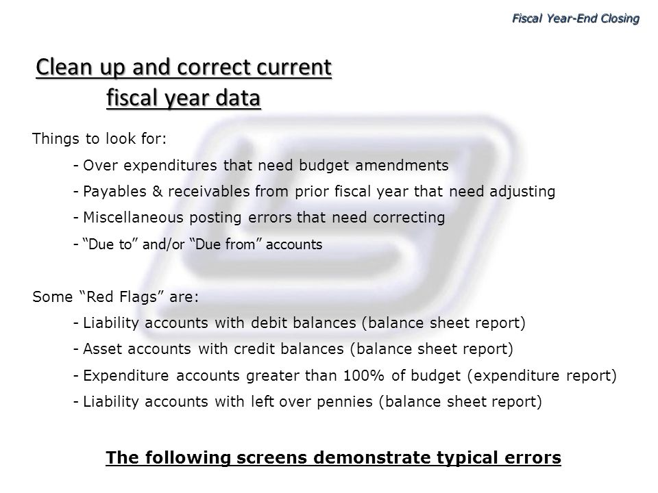 Clean up and correct current fiscal year data