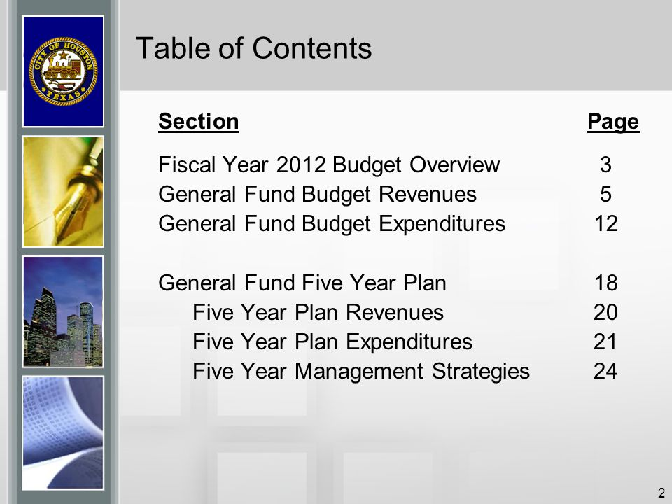 Table of Contents Section Page Fiscal Year 2012 Budget Overview 3