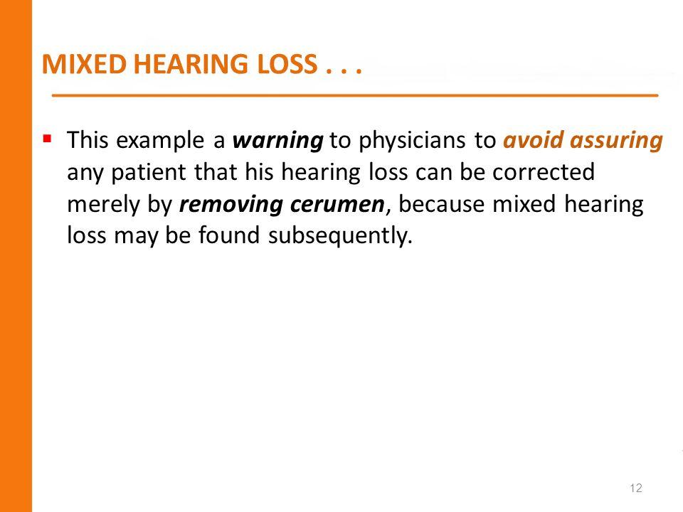 MIXED HEARING LOSS . . .