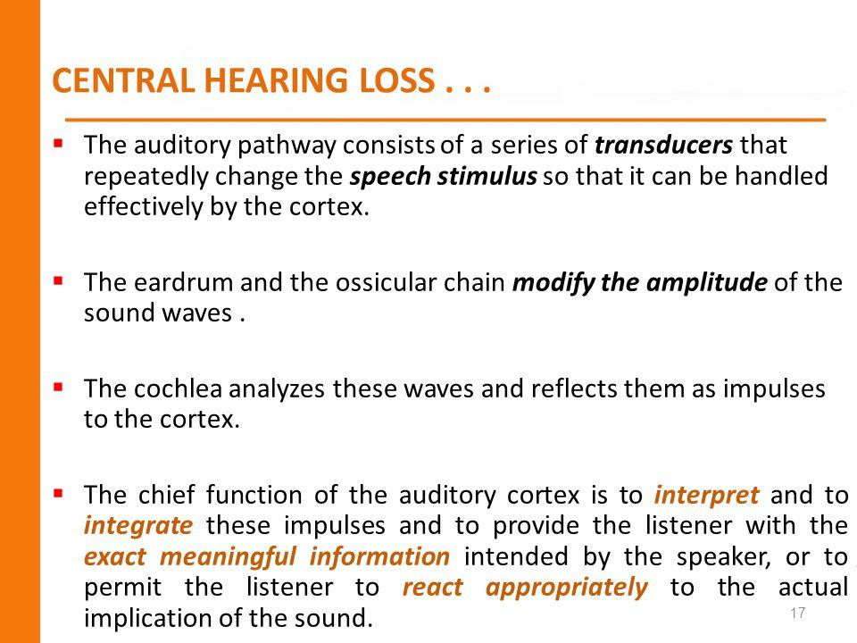 CENTRAL HEARING LOSS . . .