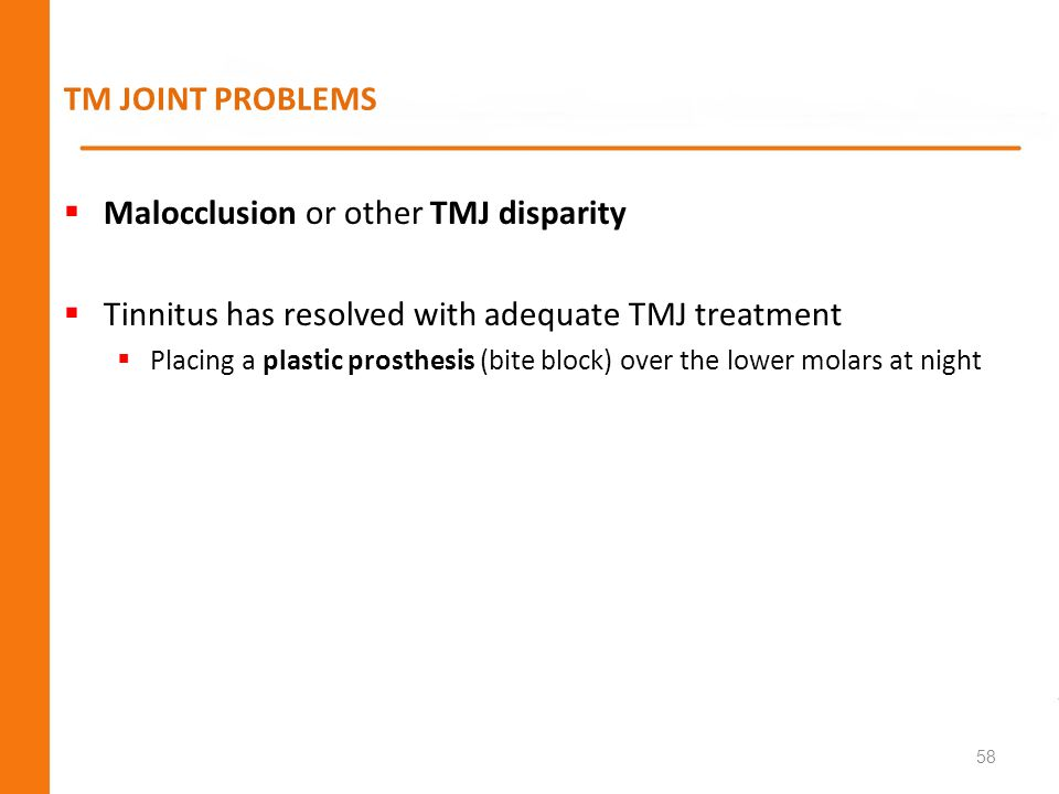 Malocclusion or other TMJ disparity