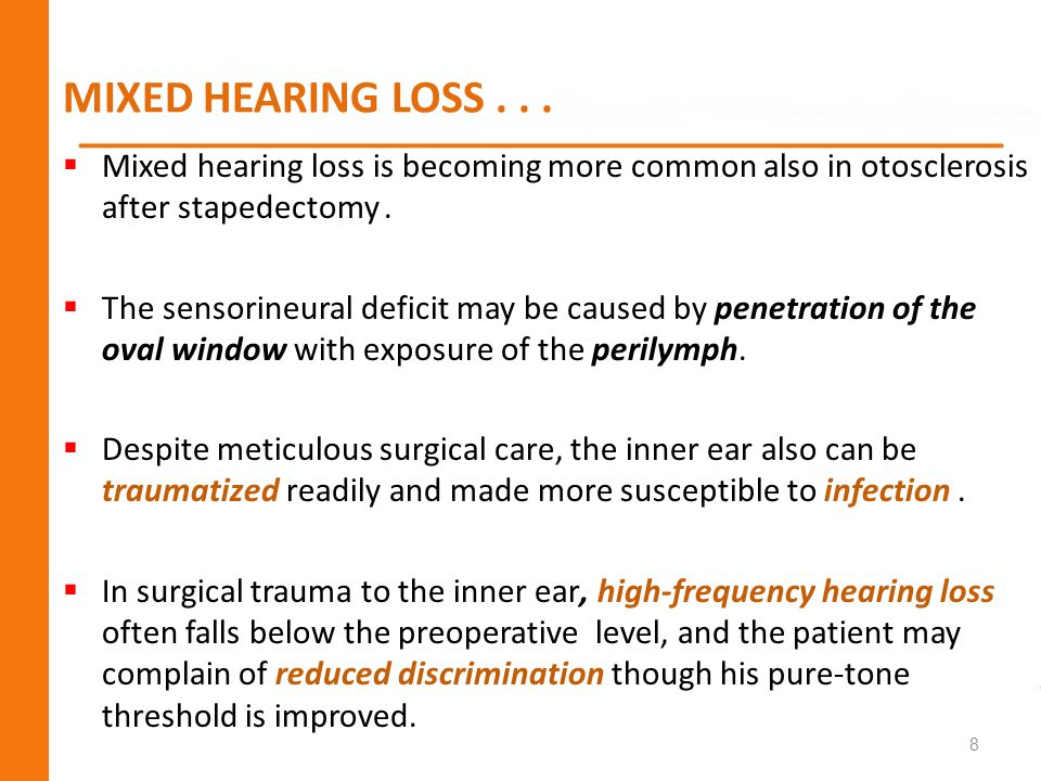 MIXED HEARING LOSS . . . Mixed hearing loss is becoming more common also in otosclerosis after stapedectomy .