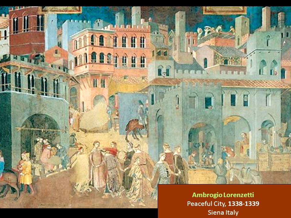 Ambrogio Lorenzetti Peaceful City, 1338-1339 Siena Italy
