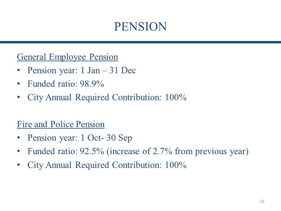 PENSION General Employee Pension Pension year: 1 Jan – 31 Dec