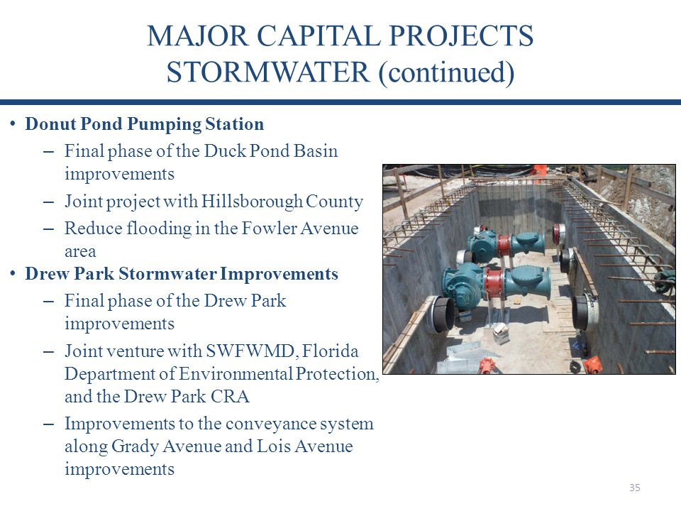 MAJOR CAPITAL PROJECTS STORMWATER (continued)
