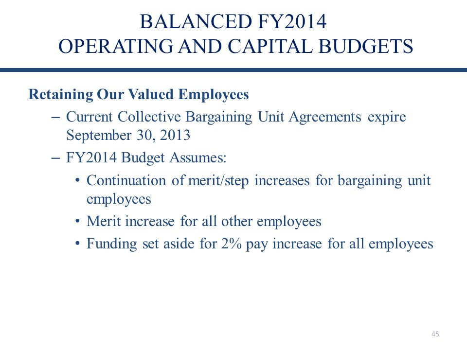 BALANCED FY2014 OPERATING AND CAPITAL BUDGETS