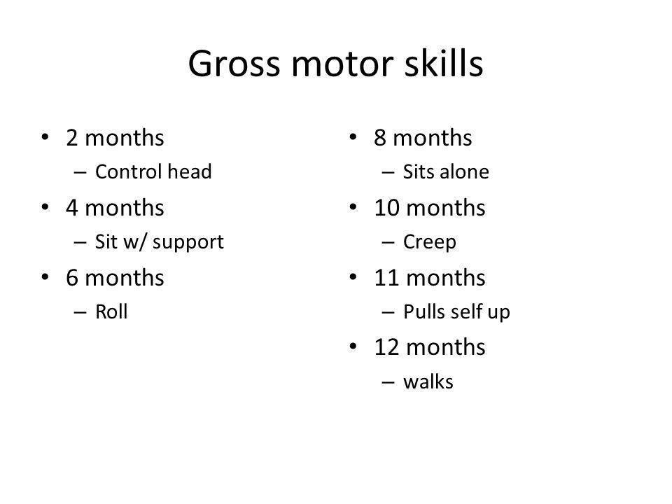 Gross motor skills 2 months 4 months 6 months 8 months 10 months