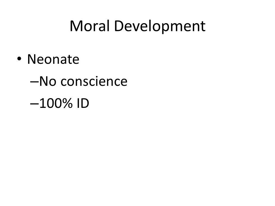 Moral Development Neonate No conscience 100% ID