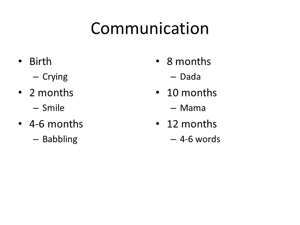 Communication Birth 2 months 4-6 months 8 months 10 months 12 months
