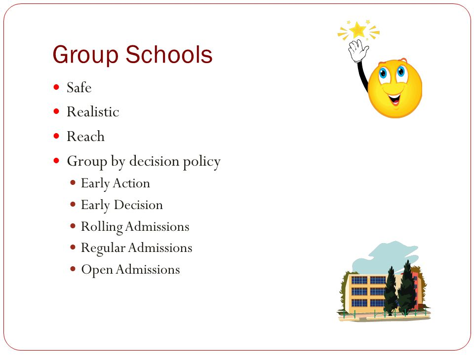 Group Schools Safe Realistic Reach Group by decision policy