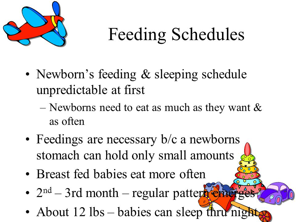 Feeding Schedules Newborn's feeding & sleeping schedule unpredictable at first. Newborns need to eat as much as they want & as often.