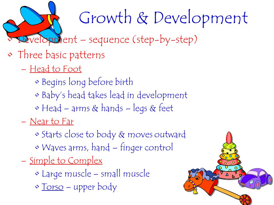 Growth & Development Development – sequence (step-by-step)