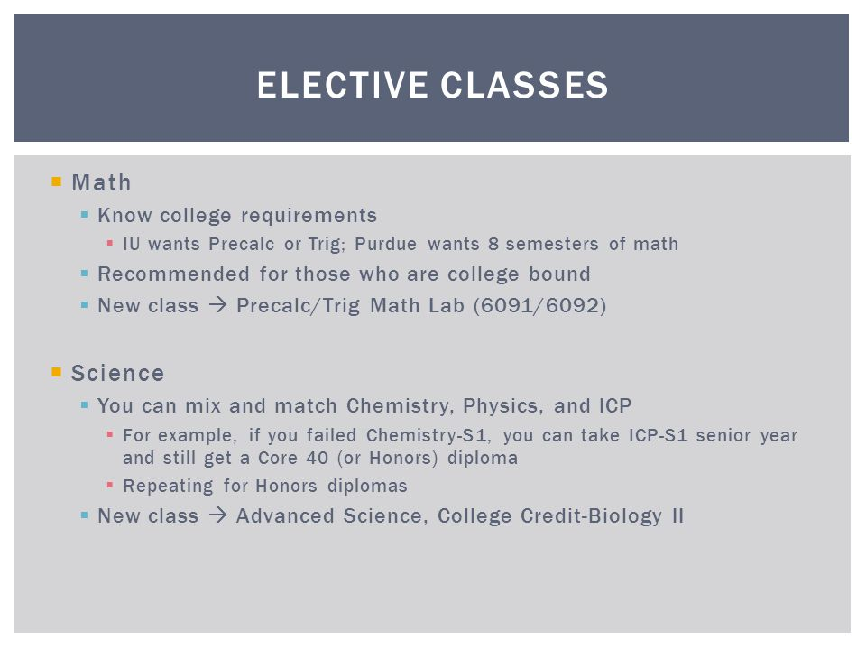 Elective Classes Math Science Know college requirements