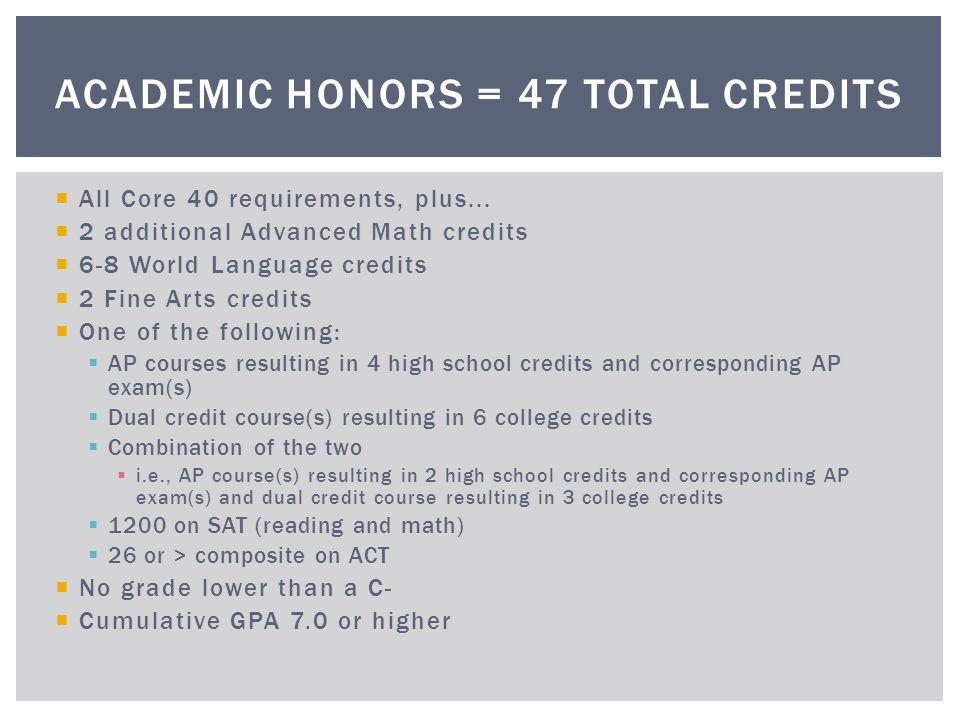Academic Honors = 47 total credits