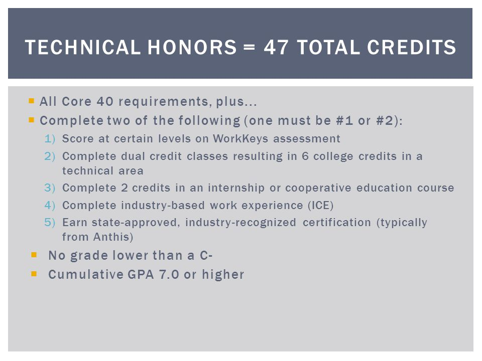 Technical Honors = 47 total credits
