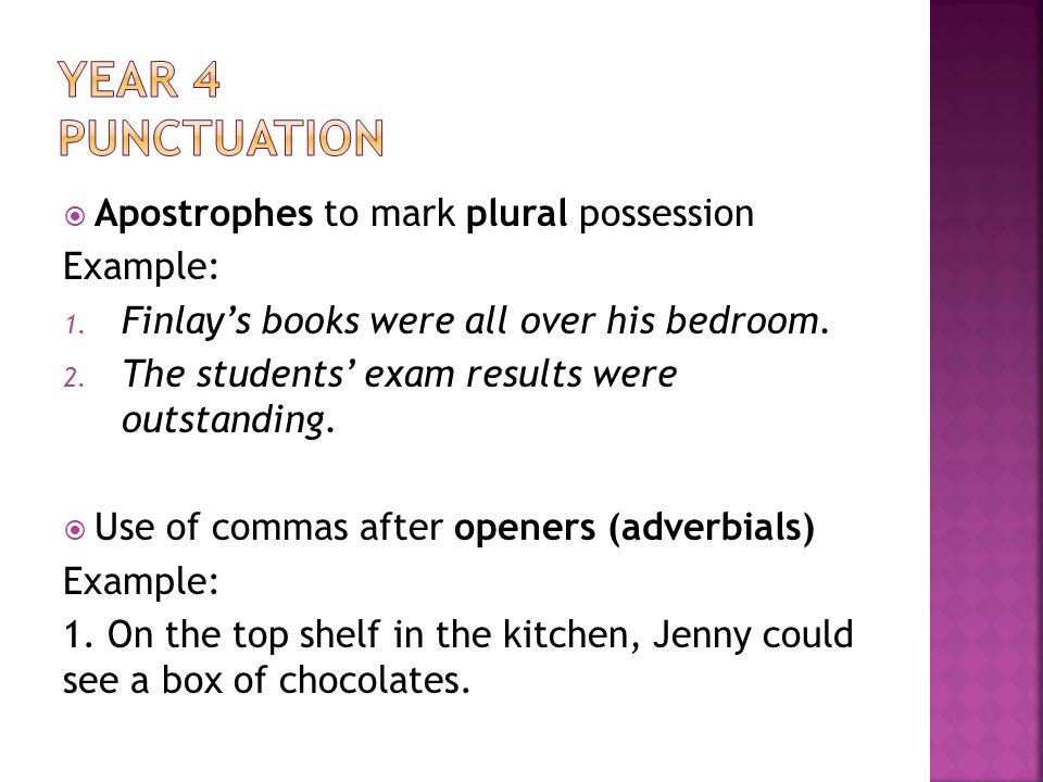 Year 4 Punctuation Apostrophes to mark plural possession Example: