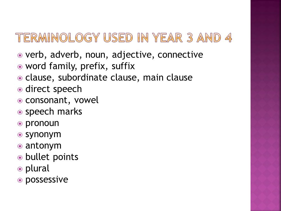 Terminology used in year 3 and 4