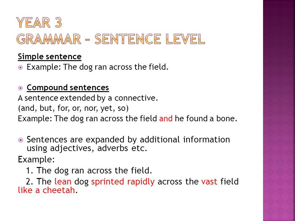 Year 3 Grammar – Sentence level