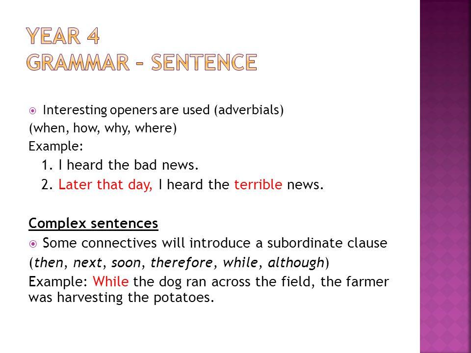 Year 4 Grammar – sentence