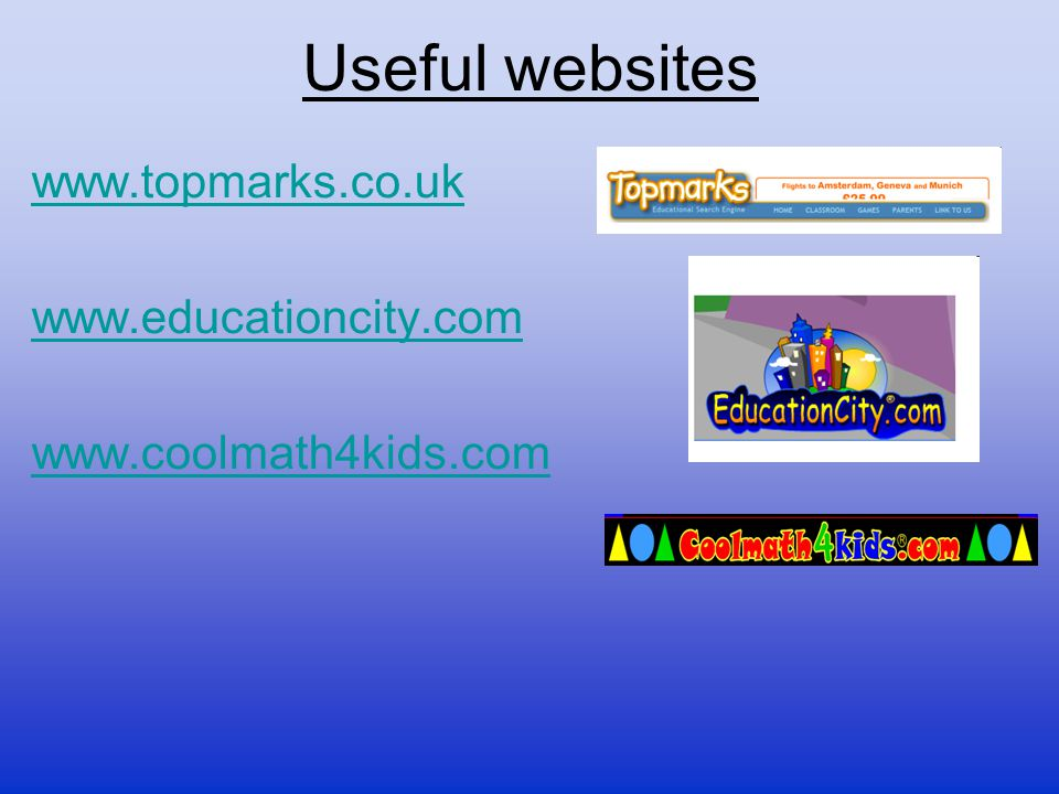 Useful websites www.topmarks.co.uk www.educationcity.com