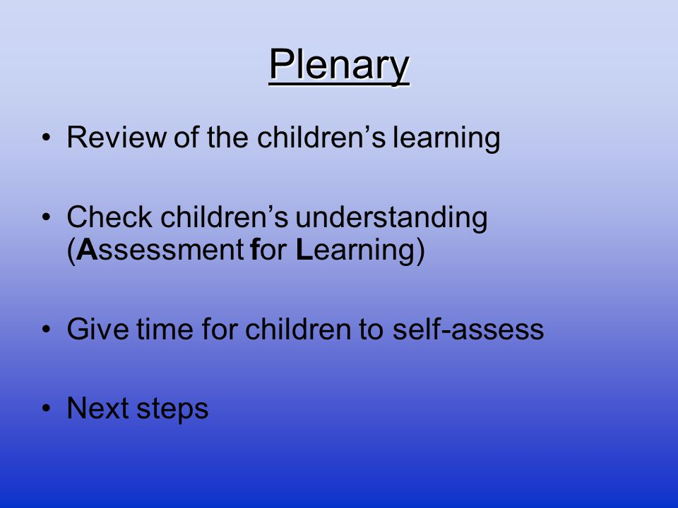 Plenary Review of the children's learning