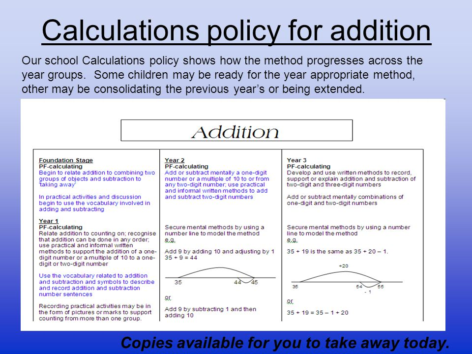 Calculations policy for addition